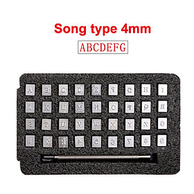 36Pcs Alphabet Letter Number Steel Punch Stamps Set for Leather Craft DIY Embossing Tools (Song type 4mm)