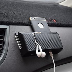 Hộp mini 2 ngăn vân carbon dán taplo, cánh cửa cho ô tô, xe hơi đa năng đựng nhiều vật dụng thẻ card, điện thoại
