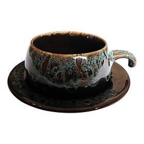 Bộ Tách Coffee Đĩa Lõm - Gốm Sứ Bát Tràng - P06X - Màu Xanh Gấm
