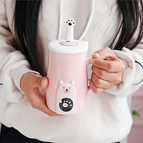 Cốc gốm sành sứ , ly sứ in hình gâu dùng uống trà  có nắp tặng kèm thìa giao màu ngẫu nhiên