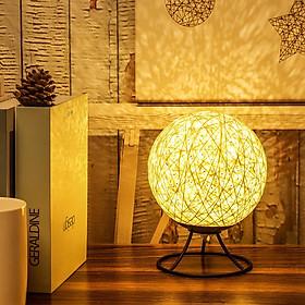 Đèn Ngủ - Đèn ngủ để bàn, đèn trang trí phòng ngủ Cầu Mây Đế Kim Loại Cao cấp - Điểu chỉnh được Độ sáng
