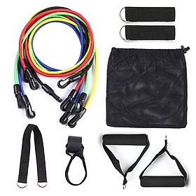 11pcs Resistance Bands Set Workout Fintess Exercise Tube Bands Door Anchor Ankle Straps Cushioned Handles with Carry-0