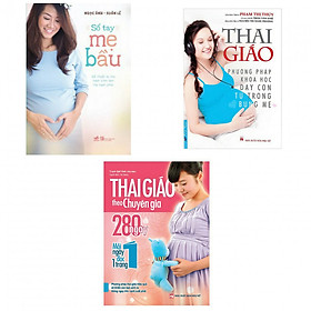 Combo sổ tay mẹ bầu +thai giáo phương pháp khoa học dạy con từ trong bụng mẹ+thai giáo theo chuyên gia 280 ngày (bản đặc biệt tặng kèm bookmark AHA)