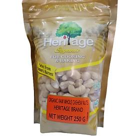 Hạt Điều Nguyên Hạt Hữu Cơ Heritage  được chứng nhận hữu cơ USDA Hoa Kì gói 250g-Organic Raw Whole Cashew Nuts