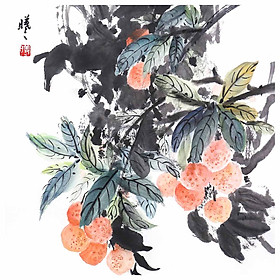 Tooarts Lychee Garden Chinese Painting Wall Art Artist Hand-Painted Chinese Brush Painting Traditional Decoration Home
