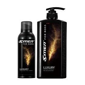 Combo Dầu gội nước hoa X-Men for Boss Luxury 650g + Xịt khử mùi X-Men for Boss Luxury 150ml