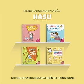 Combo 4 cuốn truyện tranh Ehon Nhật Bản - Những câu chuyện kỳ lạ của Hasu (Hasu chơi đoán hình, Hasu đầu quần, Hasu đi cắm trại, Hasu làm vườn) - Dành cho trẻ từ 4 - 6 tuổi