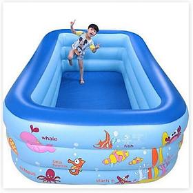 Bể Bơi Trẻ Em, Bể Bơi Phao 3 Tầng, Hồ Bơi Tắm Cho Bé, Bồn Tắm Trẻ Em Hình Chữ Nhật Bể Bơi Trong Nhà Loại 1M35 dày dặn, b