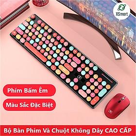 Bộ Bàn Phím Và Chuột Không Dây XSmart N620 Sweet Hồng Cute Nhiều Màu Sắc, Dùng Văn Phòng Cho Máy Tính, Laptop, PC - Hàng Chính Hãng
