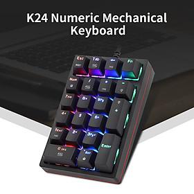 Bàn phím cơ Motospeed K24 Numeric 21 phím Bàn phím có dây USB với 13 hiệu ứng ánh sáng RGB