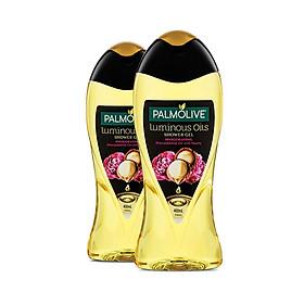 Bộ 2 sữa tắm dưỡng ẩm Palmolive Luminous tinh dầu thiên nhiên từ hạt Mắc ca và hoa mẫu đơn 400ml