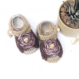 Giày dép bé gái - Xăng đan nâu nơ
