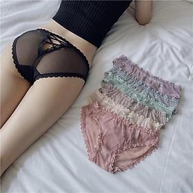 Quần lót nữ đan dây gợi cảm - Quần lót ren trong suốt xuyên thấu sexy màu đen, hồng, xanh, tím, da