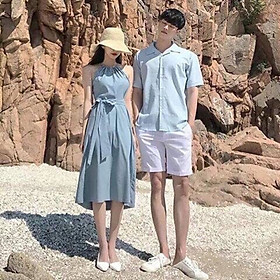 Set đồ đôi áo váy cặp CoupleTina cao cấp - Đầm thiết kế dạng yếm -Nữ tính-Phù hợp chụp cảnh biển