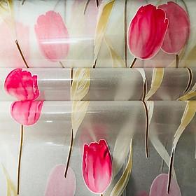 5m Decal dán kính có sẵn keo  kim sa hoa tulip hồng Binbin DK32 (0.45x5m)