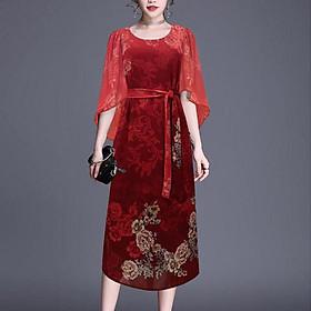 Đầm Suông Trung Niên Kiểu Đầm Suông BigSize In Hoa Lá Cột Eo  - THỜI TRANG TRUNG NIÊN NỮ GOTI 3304