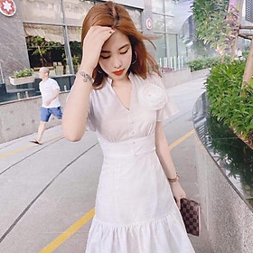 Đầm trắng cổ V Sang Trọng
