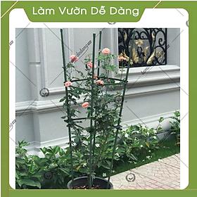 COMBO 2 KHUNG TRỒNG CÂY HÌNH TỨ GIÁC làm từ  ống tre thép bọc nhựa IBO và thanh liên kết Sapoto - Dùng làm khung, giàn cho hoa hồng leo, cây hoa leo