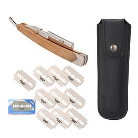 Straight Razor with 10PCS Blades & Storage Bag Shaving Razor Knife for Beard Grooming Straight Folding Razors Shaving