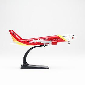 Mô hình máy bay A320 Vietjet Airlines (20cm) (Trắng Đỏ Vàng,có bánh )