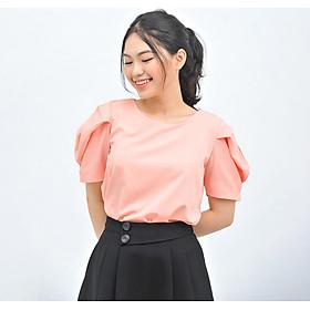 Áo kiểu nữ công sở thời trang Eden cổ tròn tay phồng cách điệu. Kiểu dáng nữ tính. Chất liệu mềm mại, không nhăn - ASM108