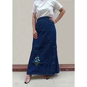 Váy Chống Nắng Jean Có Chân Váy Dài Dành Cho Nữ Cao Chống Nắng, Chống Nóng, Chống Tia UV 100% Được Thêu Họa Tiết Hoa Thanh Tú