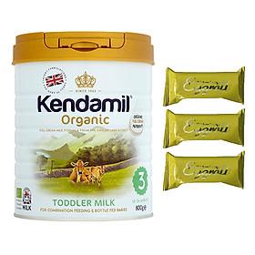 Sữa bột Nguyên kem công thức hữu cơ KENDAMIL ORGANNIC số 3: ORGANIC TODDLER MILK (800G) ( cho trẻ từ 1-3 tuổi) - Phát triển chiều cao và trí não, tăng cân, tăng sức đề kháng – Tặng 3 bánh quế cuộn hiệu Kapad