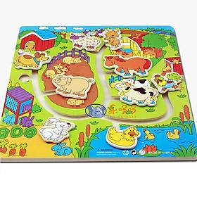 Bộ đồ chơi gỗ bảng ghép nông trại vui vẻ