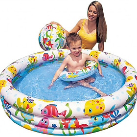Bể bơi tròn 3 tầng kèm bóng và phao bơi 1,3m