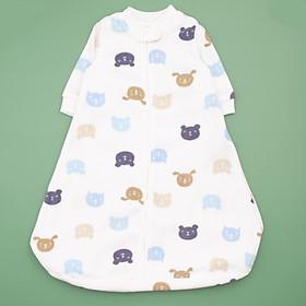 Túi ngủ chất băng lông kéo khóa hình gấu xanh cho bé
