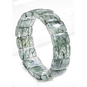 Vòng tay đá thạch anh tóc xanh bản vuông (10x14mm) Ngọc Quý Gemstones