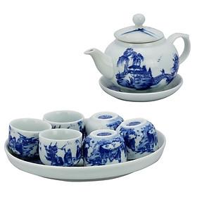 Bộ ấm chén men lam bưởi khay vẽ Phong cảnh gốm sứ Bát Tràng (bộ bình uống trà, bộ bình trà)