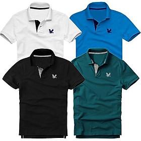 Bộ 4 áo thun nam cổ bẻ cao cấp DokaFashion, chất liệu thun cá sấu 4 chiều ngoại nhập - Trắng, Xanh dương, Đen, Xanh cổ vịt