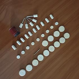 Bộ 33 đánh bóng đầu lông cừu + tặng kem đánh bóng sử dụng cho máy khoan mài khắc mini đa năng - nỉ đánh bóng