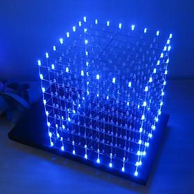 Bộ DIY Led Cube 8x8x8 Xanh Dương Full Led và Vỏ Mica