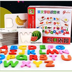 Đồ chơi giáo dục - đồ chơi ghép chữ cái tiếng anh theo thẻ flash card giúp trẻ phát triển trí tuệ