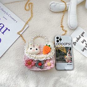 Túi xách mini, đeo chéo đính ngọc trai nhân tạo thời trang cho bé gái
