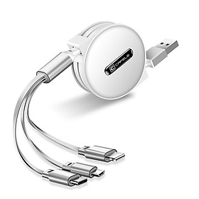 Dây cáp sạc đa năng Cafele 3 in 1 Type-C, 2 Lighning, Micro USB, cho iPhone/ iPad, Smartphone & Tablet Android (1.2M, Fast charge 3 in 1 Cable)- Hàng nhập khẩu