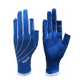 Găng tay hở ngón chống nắng UPF50+ xanh trắng Zigzag GLV00808