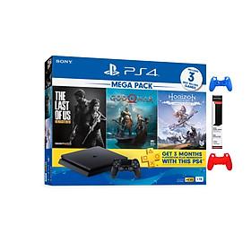 Bộ Máy Playstation 4 Slim Cuh 2218b Mega Pack Bundle ( 3 Game+ Balo) Tặng Đế Đứng &Bao Silicon- Hàng Chính Hãng