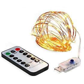 Đèn led đom đóm DEHA trang trí 10 mét đầu cắm USB kèm điều khiển 8 chế độ nháy