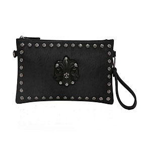 Men's Personalized Rivet Pattern Clutch PU Leather wallet - Black