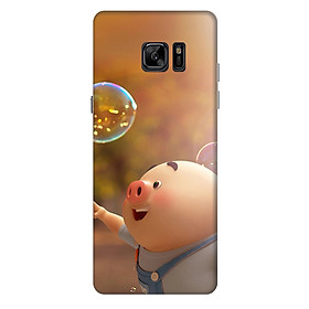 Ốp lưng nhựa cứng nhám dành cho Samsung Galaxy Note FE in hình Heo Con Bóng Nước