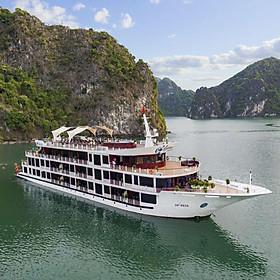 Du Thuyền 5 Sao Aspira Cruises - Du Thuyền Đẳng Cấp Tại Hạ Long, Gồm 4 Bữa Ăn + Chèo Thuyền Kayak Khám Phá Vịnh Hạ Long - Vịnh Lan Hạ, Câu Mực Đêm