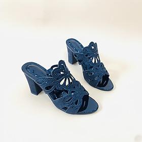 [ Shop giày somina ] Guốc 7cm si kim tuyến MT299