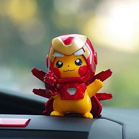 Pikachu Cos Spider-Man Iron Man Car Accessories Decoration Pokemon Automobile Ornament