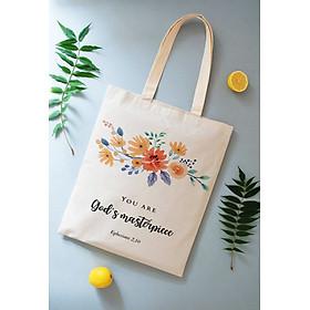 Túi vải Canvas (tote shopping bag) Câu Lời Chúa 5 (Ephesians 2,10)