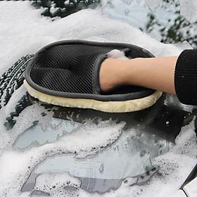 Găng tay rửa xe ô tô, xe hơi, xe máy chuyên dụng, chất liệu lông cừu siêu mịn giữ bọt tốt