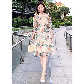 Đầm hoa dáng xòe buộc nơ sang trọng chất voan lụa Hàn cao cấp thiết kế 2 lớp thoáng vải không bai xù phù hợp đi chơi dự tiệc V1569