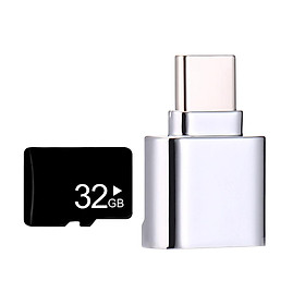 USB 3.1 Type-C to 32GB TF Card Reader OTG Adapter for Micro SD Card-Silver